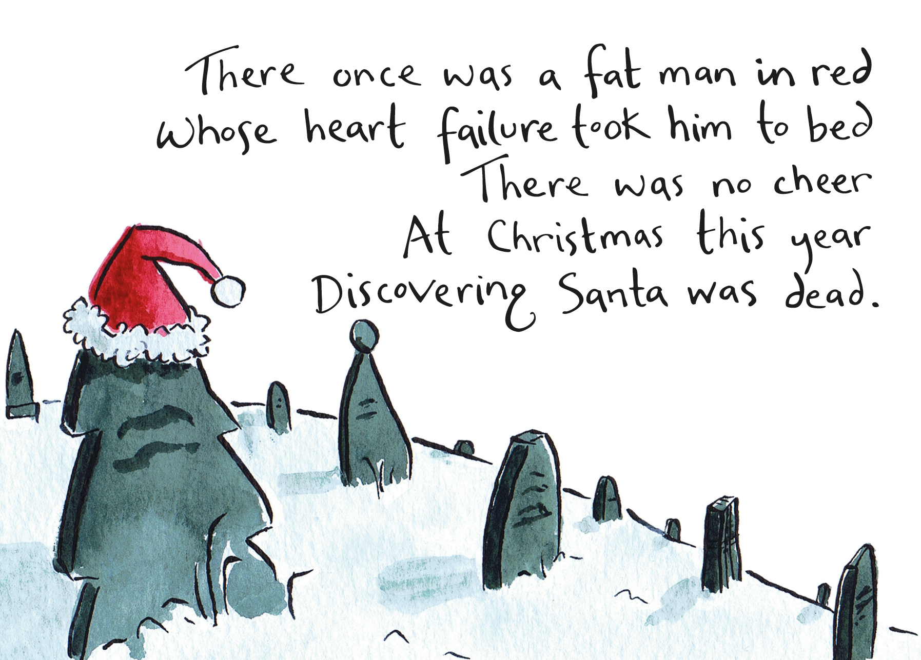 Alternative christmas cards drawesome illustration watercolour painting of a graveyard with a limerick about santa m4hsunfo