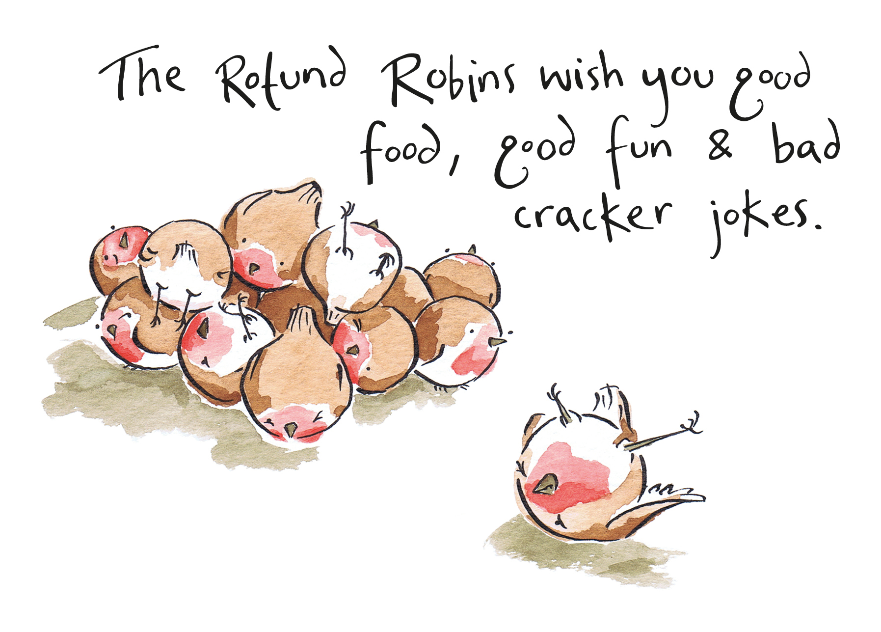 Alternative christmas cards drawesome illustration watercolour painting of fat robins rolling around in a pile m4hsunfo