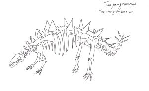 pen sketch of the dinosaur skeleton of Tuojiangosaurus