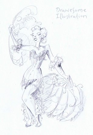 pencil sketch of a burlesque performer with white feather fans and a white costume