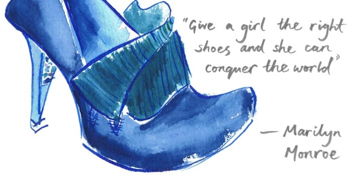 painted illustration of irregular choice shoes with handwritten brush typography by Laura Elliott at Drawesome Illustration, Bristol. Illustration, Design, Whimsy