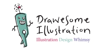 logo for drawesome illustration with tag line illustration, design, whimsy