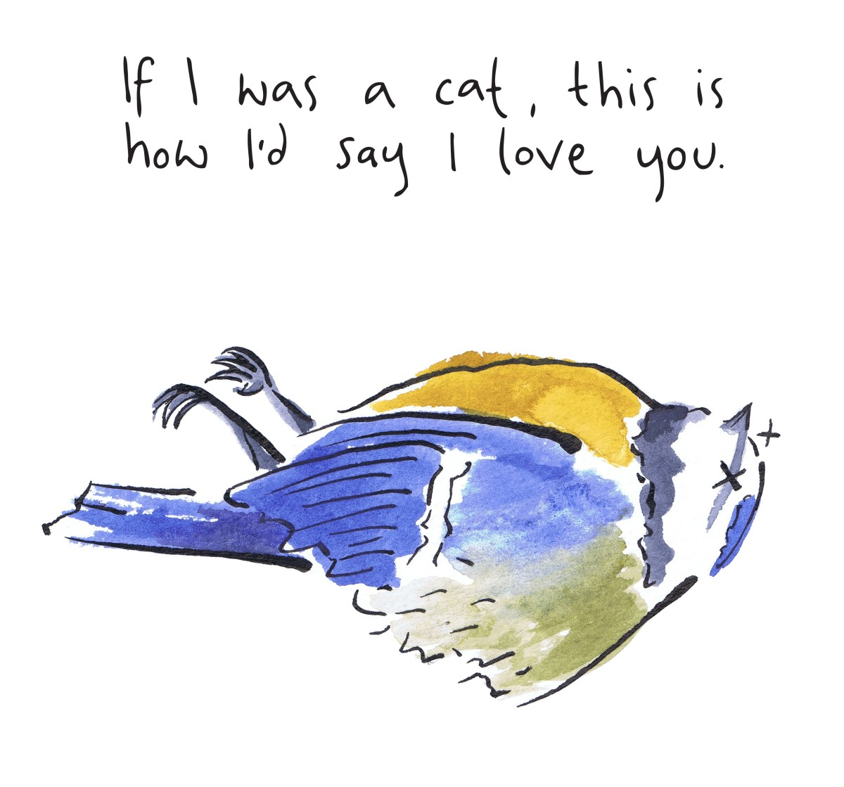 illustration of a dead blue tit. Altenative Valentine image