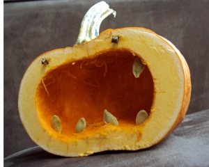 carved squash with seeds for teeth
