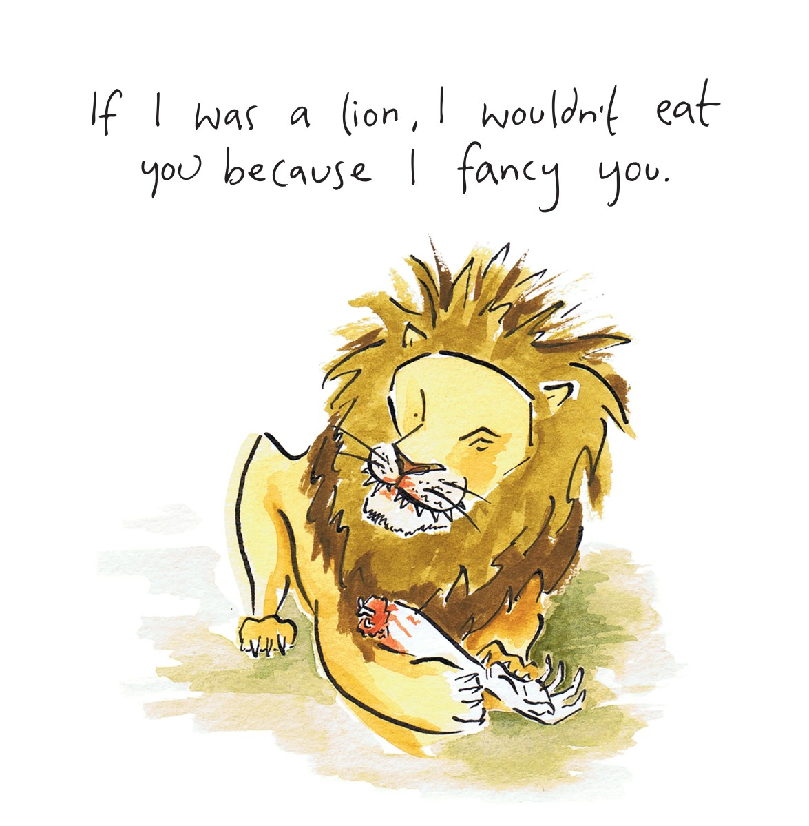 watercolour image of a lion, alternative valentine image
