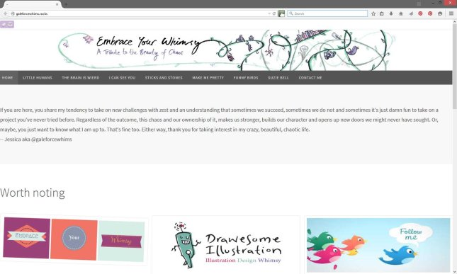 Screenshot of galeforcewhims.rocks website with header illustrated by Drawesome Illustration
