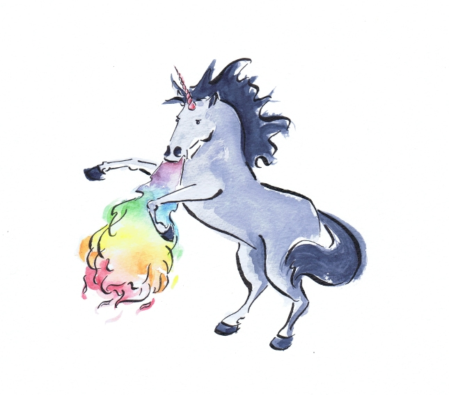 Watercolour painting of a grey rainbow breathing unicorn by Laura Elliott of Drawesome Illustration