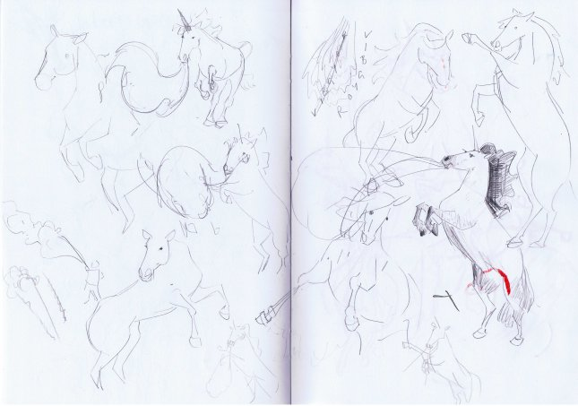 sketchbook drawings of horses by Laura Elliott of Drawesome Illlustration