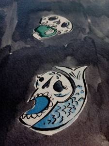 close up photo of day of the dead inspired fairytale skulls