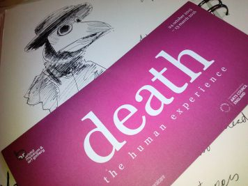 leaflet for death the human experience at Bristol Museum and an illustration of a plague doctor's hood by Drawesome